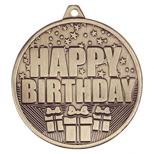 Cascade Happy Birthday Iron Medal Antique Gold 50mm